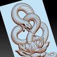 snakeLotus5.jpg Télécharger fichier OBJ gratuit modèle de pendentif en serpent de bas-relief • Plan pour imprimante 3D, stlfilesfree