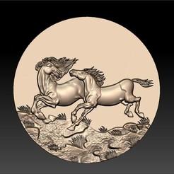 Two_horses1.jpg Télécharger fichier STL gratuit Deux chevaux • Plan imprimable en 3D, stlfilesfree