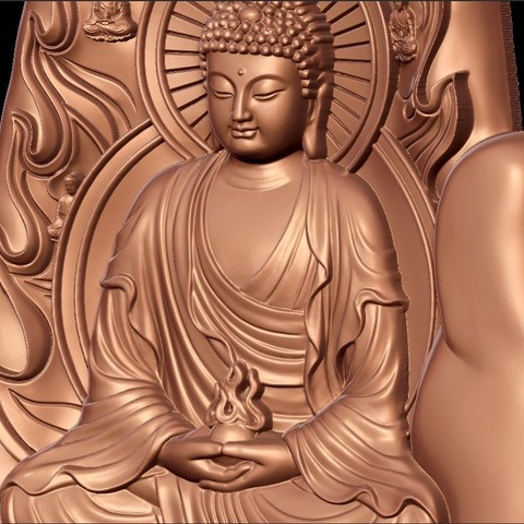buddhaHand8.jpg Download free STL file buddha with background of hand • 3D printable design, stlfilesfree