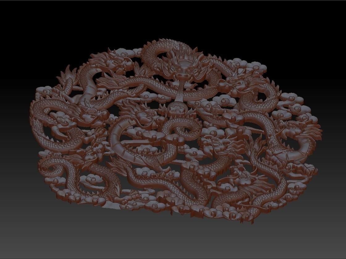 NineChineseDragons4.jpg Télécharger fichier STL gratuit neuf dragons traditionnels chinois modèle de bas-relief pour cnc • Modèle imprimable en 3D, stlfilesfree