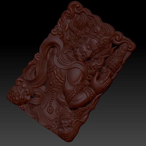 tibetanbuddhademon4.jpg Télécharger fichier OBJ gratuit Statue de Bouddha tibétain 3d modèle de relief • Modèle pour impression 3D, stlfilesfree