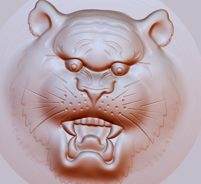 tigerHead5.jpg Download free OBJ file tiger head pendant • 3D printer template, stlfilesfree