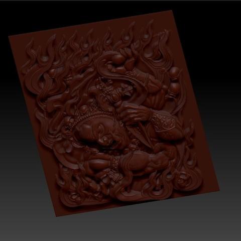 tibetbuddhademonz4.jpg Télécharger fichier OBJ gratuit MODÈLE TIBETAN BUDDHA RELIEF POUR CNC • Objet pour impression 3D, stlfilesfree