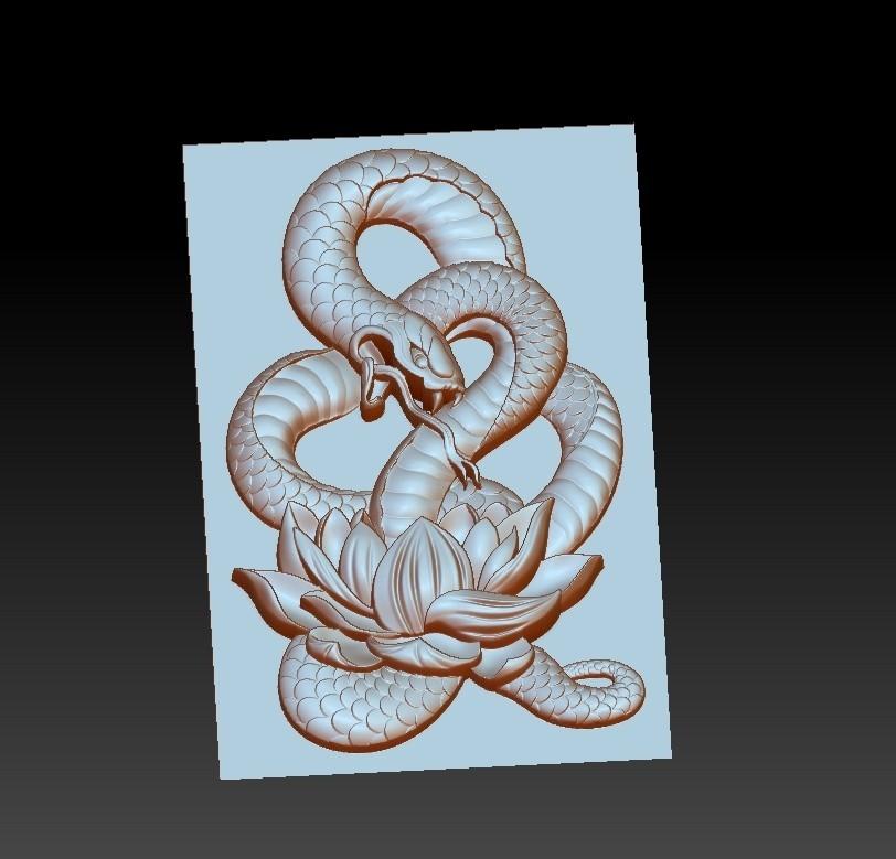 snakeLotus2.jpg Télécharger fichier OBJ gratuit modèle de pendentif en serpent de bas-relief • Plan pour imprimante 3D, stlfilesfree