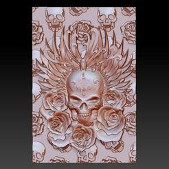skullAndRoses1.jpg Download free STL file skull and rose • 3D printing design, stlfilesfree