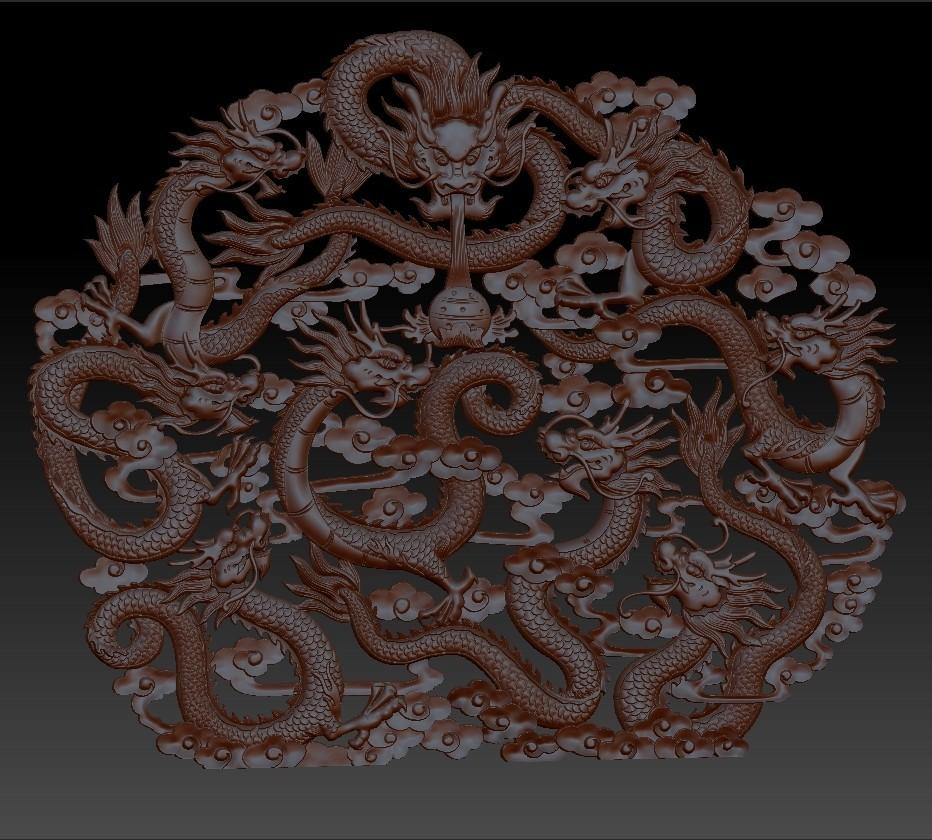 NineChineseDragons1.jpg Télécharger fichier STL gratuit neuf dragons traditionnels chinois modèle de bas-relief pour cnc • Modèle imprimable en 3D, stlfilesfree