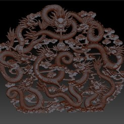 NineChineseDragons1.jpg Download free STL file nine Chinese traditional dragons model of bas-relief for cnc  • Design to 3D print, stlfilesfree
