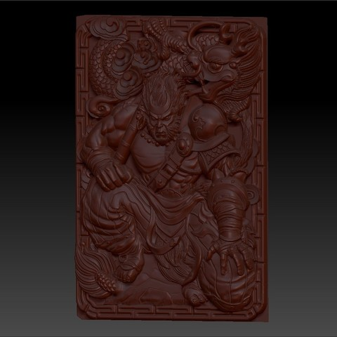 MonkeyKing2.jpg Download free OBJ file monkey king 3d model of bas-relief for cnc • 3D printing model, stlfilesfree