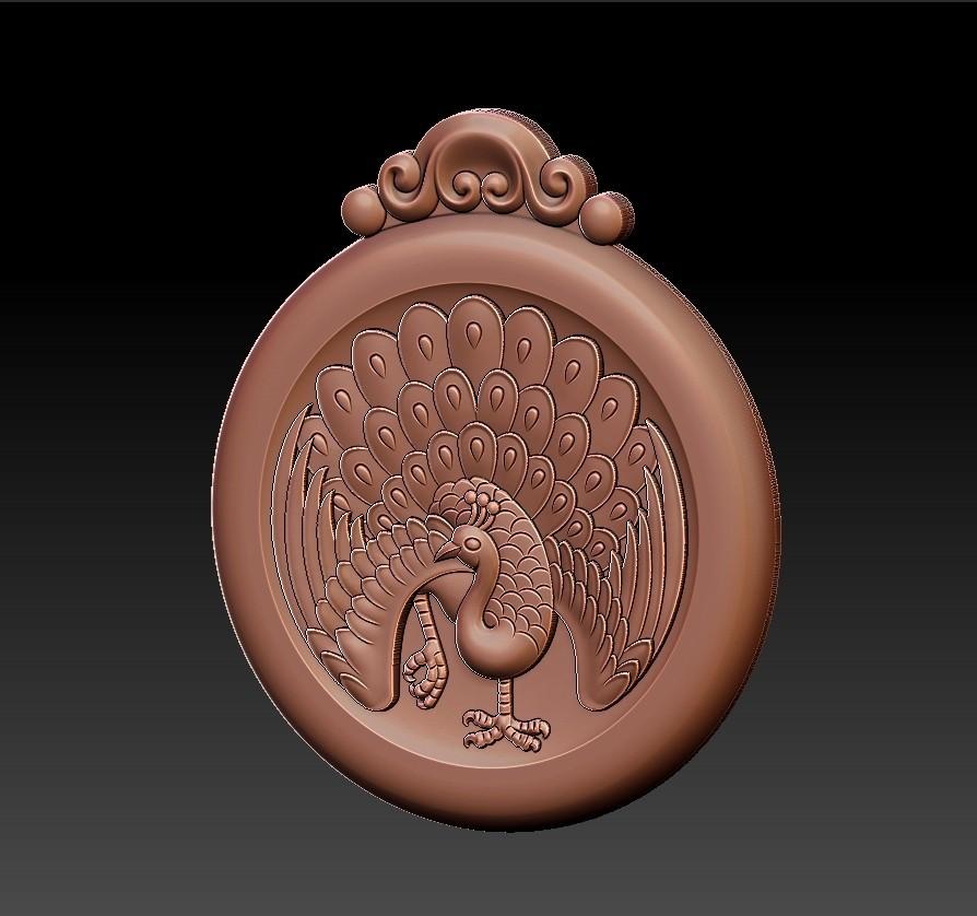 peacock_pendant7.jpg Download free STL file peacock pendant • Model to 3D print, stlfilesfree