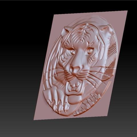 TigerHeadRRR3.jpg Download free STL file tiger head • 3D printable template, stlfilesfree
