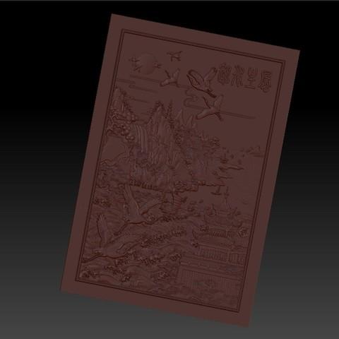 MontainsAndHills2.jpg Télécharger fichier STL gratuit Paysage chinois 3d modèle de bas-relief pour cnc • Design à imprimer en 3D, stlfilesfree