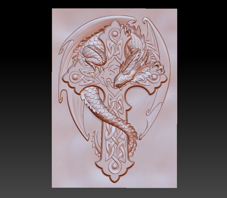 dragonCross1.jpg Download free OBJ file dragon on the cross • 3D printing design, stlfilesfree