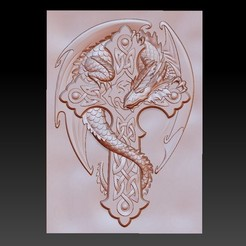dragonCross1.jpg Download free OBJ file dragon on the cross • 3D printing design, stlfilesfree