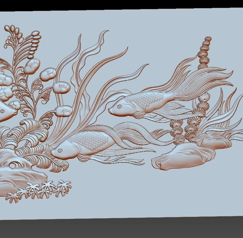 fishunderwater5.jpg Download free STL file fish underwater 3d model of bas-relief • Template to 3D print, stlfilesfree