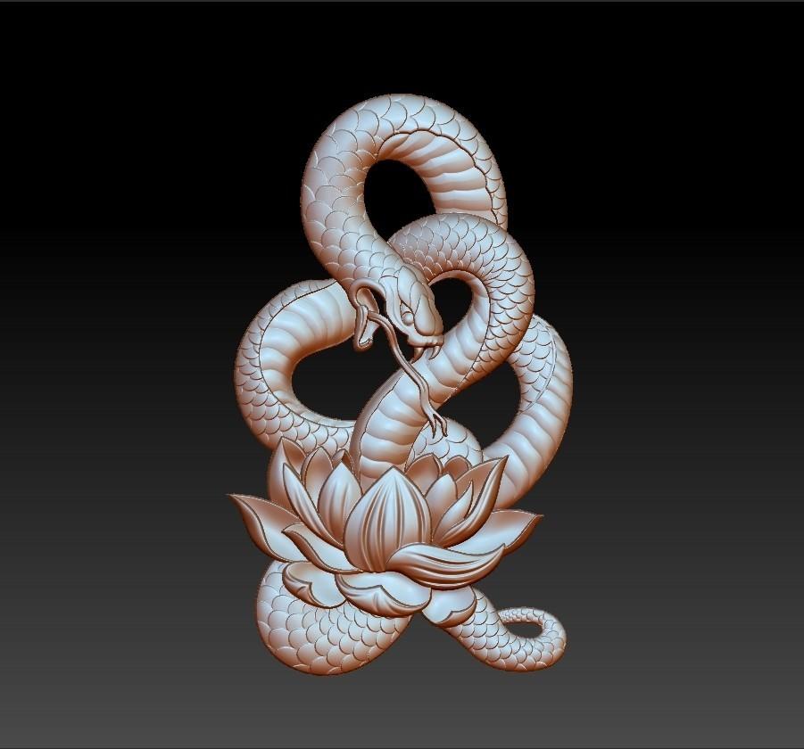 snakeLotusPendant1.jpg Télécharger fichier OBJ gratuit modèle de pendentif en serpent de bas-relief • Plan pour imprimante 3D, stlfilesfree