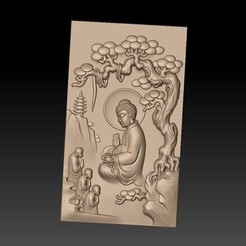 Buddha_under_the_pine1.jpg Télécharger fichier STL gratuit Bouddha sous le pin • Plan pour imprimante 3D, stlfilesfree