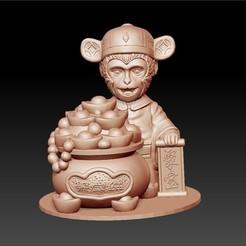 luckyMonkey1.jpg Télécharger fichier STL gratuit singe chanceux • Design pour imprimante 3D, stlfilesfree