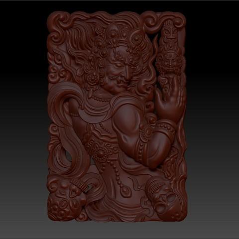 tibetanbuddhademon1.jpg Télécharger fichier OBJ gratuit Statue de Bouddha tibétain 3d modèle de relief • Modèle pour impression 3D, stlfilesfree