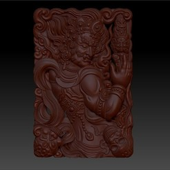 tibetanbuddhademon1.jpg Download free OBJ file Tibetan Buddha statue 3d model of relief  • 3D print design, stlfilesfree