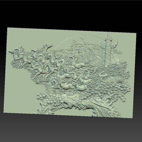 many_horses_and_trees1.jpg Download free STL file running horses and trees • Object to 3D print, stlfilesfree