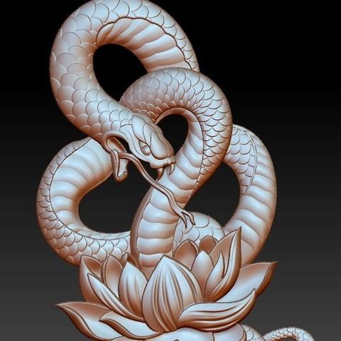 snakeLotusPendant5.jpg Télécharger fichier OBJ gratuit modèle de pendentif en serpent de bas-relief • Plan pour imprimante 3D, stlfilesfree