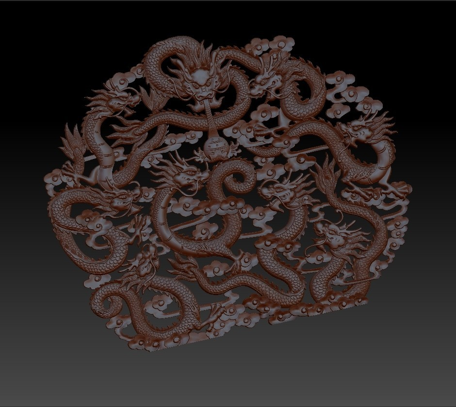 NineChineseDragons5.jpg Télécharger fichier STL gratuit neuf dragons traditionnels chinois modèle de bas-relief pour cnc • Modèle imprimable en 3D, stlfilesfree