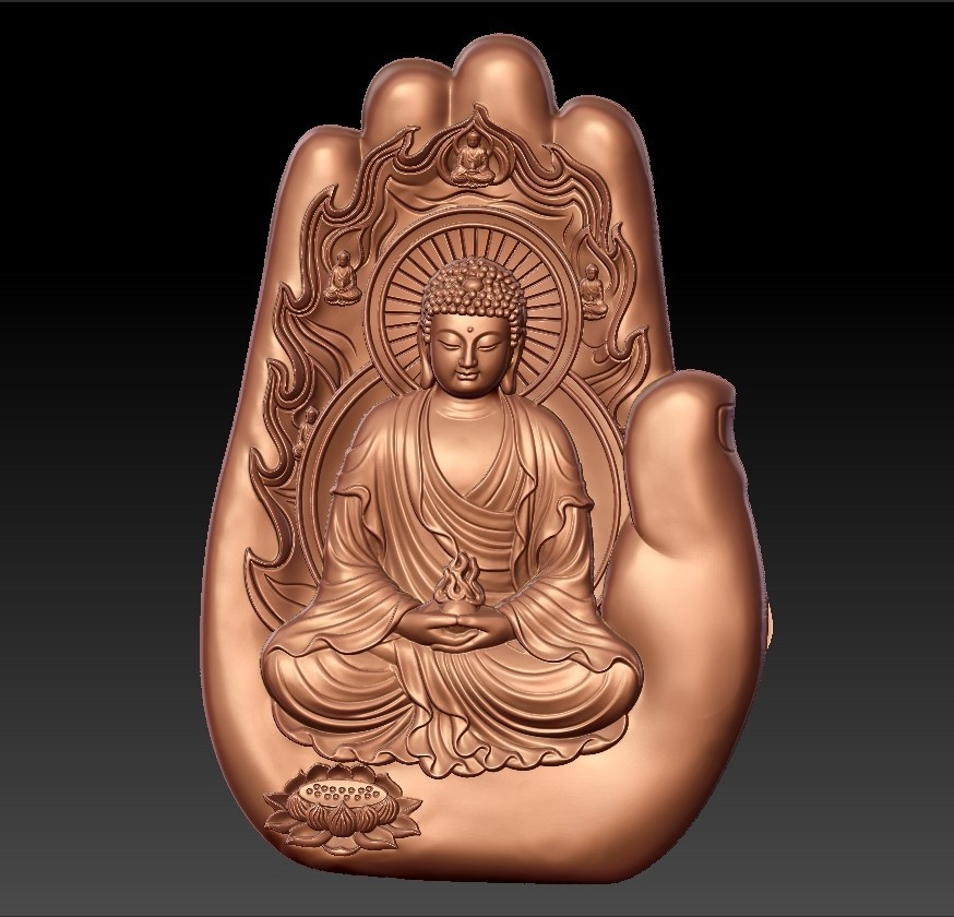 buddhaHand1.jpg Download free STL file buddha with background of hand • 3D printable design, stlfilesfree