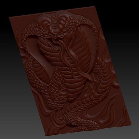 snake2.jpg Télécharger fichier STL gratuit Cobra Snake relief modèle pour cnc • Design imprimable en 3D, stlfilesfree
