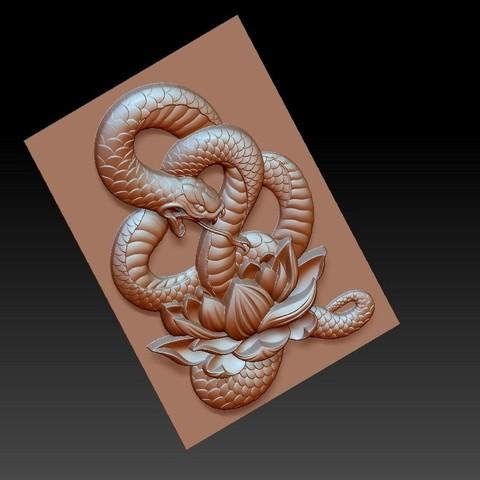 snakeLotus4.jpg Télécharger fichier OBJ gratuit modèle de pendentif en serpent de bas-relief • Plan pour imprimante 3D, stlfilesfree