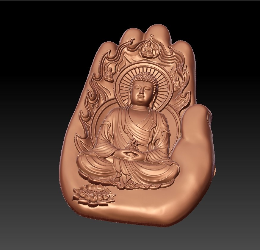 buddhaHand2.jpg Download free STL file buddha with background of hand • 3D printable design, stlfilesfree