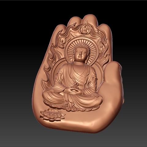buddhaHand2.jpg Télécharger fichier STL gratuit Bouddha avec fond de main • Plan à imprimer en 3D, stlfilesfree