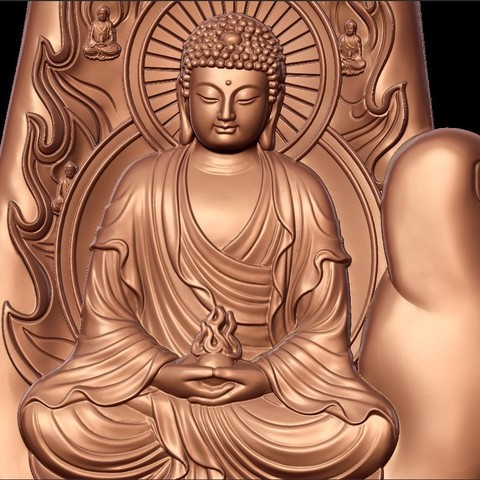 buddhaHand7.jpg Download free STL file buddha with background of hand • 3D printable design, stlfilesfree