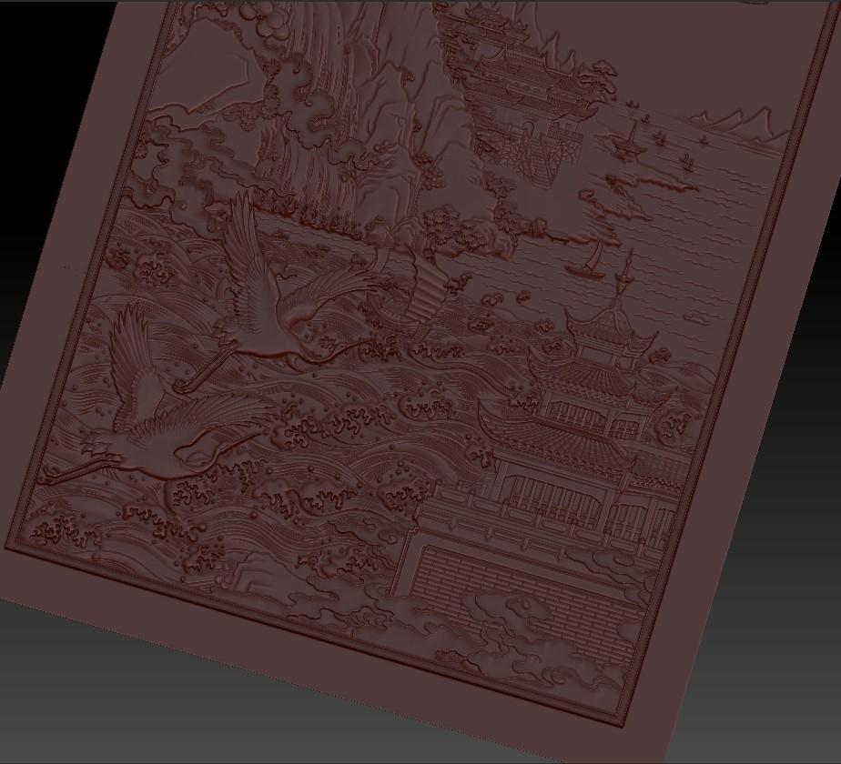 MontainsAndHills3.jpg Télécharger fichier STL gratuit Paysage chinois 3d modèle de bas-relief pour cnc • Design à imprimer en 3D, stlfilesfree