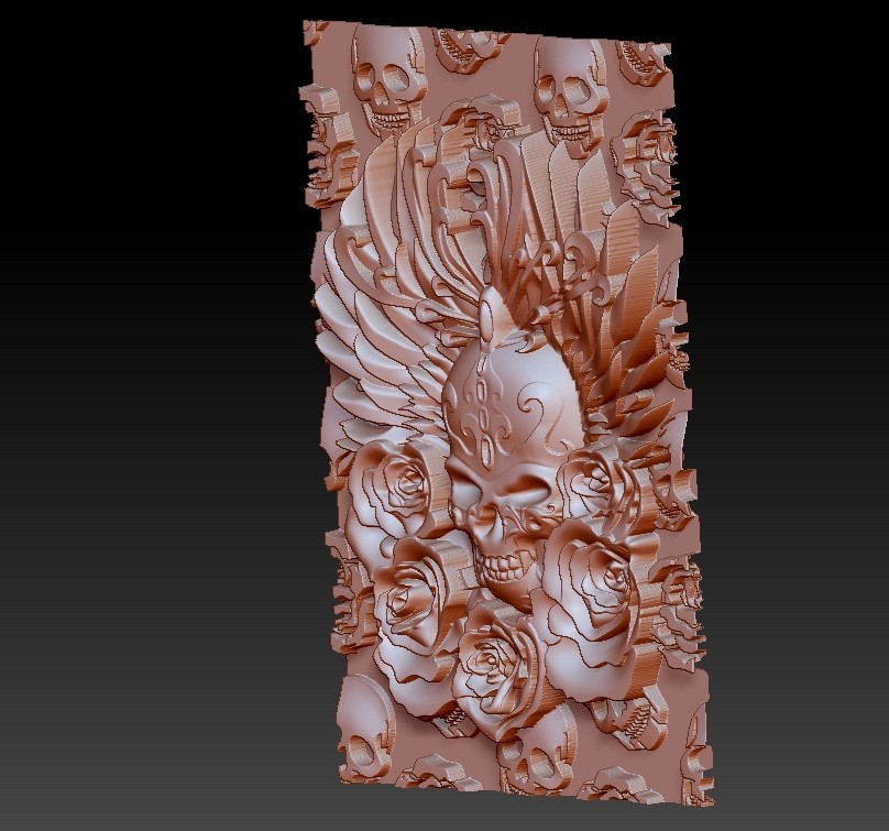 skullAndRoses3.jpg Télécharger fichier STL gratuit crâne et rose • Objet à imprimer en 3D, stlfilesfree