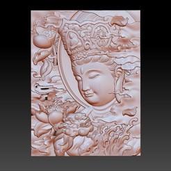 wenshuBodhisattva1.jpg Télécharger fichier OBJ gratuit Manjushri bodhisattva et lion 3d modèle de bas-relief • Plan à imprimer en 3D, stlfilesfree