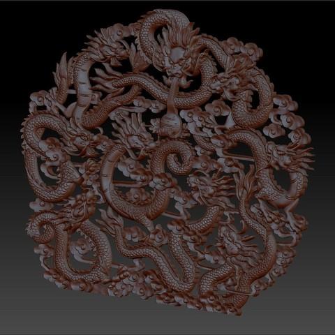 NineChineseDragons2.jpg Télécharger fichier STL gratuit neuf dragons traditionnels chinois modèle de bas-relief pour cnc • Modèle imprimable en 3D, stlfilesfree