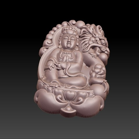 bodhisattva_with_dragon_background6.jpg Télécharger fichier STL gratuit Bodhisattva kwan-yin avec fond de dragon • Modèle pour imprimante 3D, stlfilesfree
