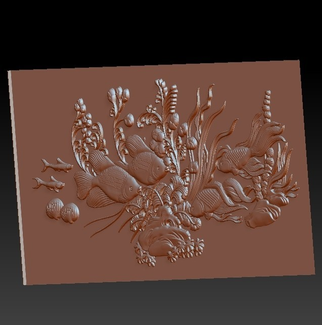 fishunderwater3.jpg Download free STL file fish underwater 3d model of bas-relief • Template to 3D print, stlfilesfree