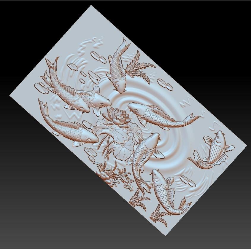 carpAndLotus1.jpg Download free OBJ file fish and lotus flowers 3d model of bas-relief • 3D printable template, stlfilesfree