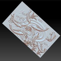 carpAndLotus1.jpg Télécharger fichier OBJ gratuit fleurs de lotus et de poissons modèle 3d de bas-relief • Design à imprimer en 3D, stlfilesfree