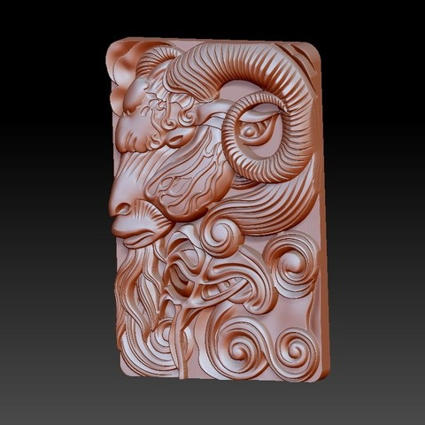 GOAT2.jpg Download free OBJ file goat head 3d model of bas-relief • 3D printable design, stlfilesfree