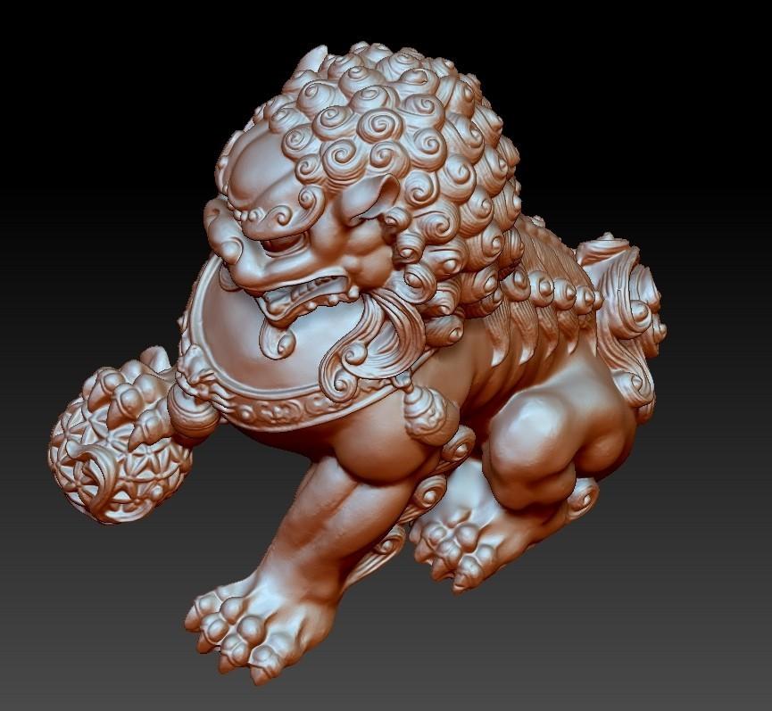 guardianLion3d3.jpg Télécharger fichier OBJ gratuit modèle 3d de lion ou de foo de gardien de chien • Modèle imprimable en 3D, stlfilesfree