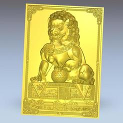 LION1.jpg Download free OBJ file Chinese guardian lions or Foo Dogs 3d model of bas-relief  • 3D printable design, stlfilesfree