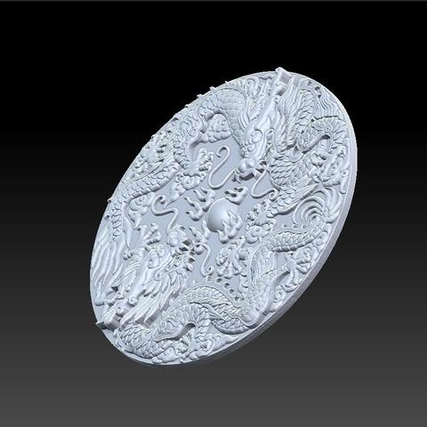 Round_two_dragons6.jpg Télécharger fichier STL gratuit deux dragons • Design pour impression 3D, stlfilesfree