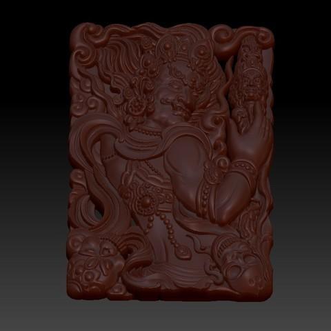 tibetanbuddhademon3.jpg Télécharger fichier OBJ gratuit Statue de Bouddha tibétain 3d modèle de relief • Modèle pour impression 3D, stlfilesfree