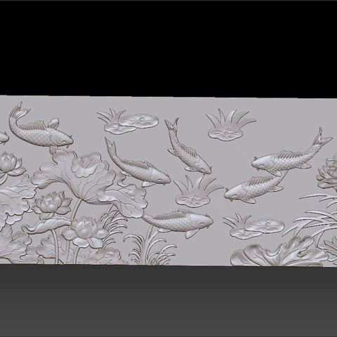 lotus_and_many_fish5.jpg Download free STL file fish and lotus flowers  • 3D printable object, stlfilesfree