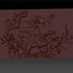 CraneAndLotus1.jpg Download free OBJ file crane and lotus Chinese ancient pattern or texture • 3D printer object, stlfilesfree