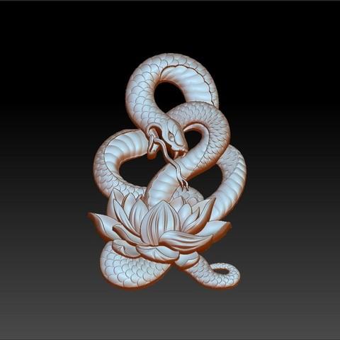 snakeLotusPendant2.jpg Télécharger fichier OBJ gratuit modèle de pendentif en serpent de bas-relief • Plan pour imprimante 3D, stlfilesfree