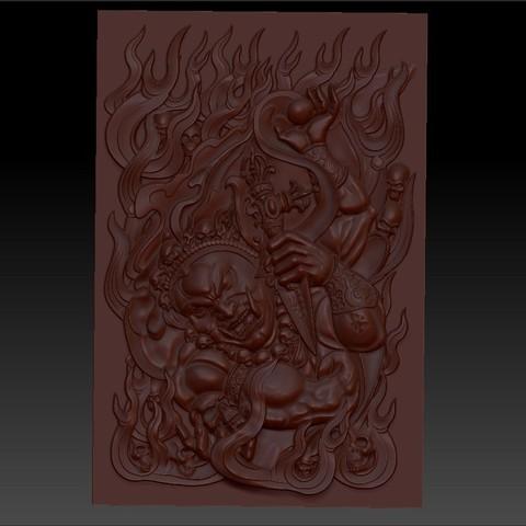 tibetbuddhademonz1.jpg Télécharger fichier OBJ gratuit MODÈLE TIBETAN BUDDHA RELIEF POUR CNC • Objet pour impression 3D, stlfilesfree