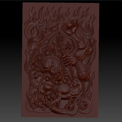 tibetbuddhademonz1.jpg Download free OBJ file TIBETAN BUDDHA RELIEF MODEL FOR CNC • Template to 3D print, stlfilesfree